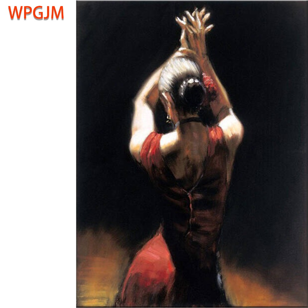 Dancer Painting Spanish Latina Woman On Canvas Hight-Quality Oil Flamenco