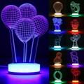 6 W DC5V 3D Night Light Kids Ilusión de Escritorio Lámpara de Mesa de Acrílico Noche LED Lámpara de Luz Para El Dormitorio Blanco Cálido/RGB Con El Cable USB