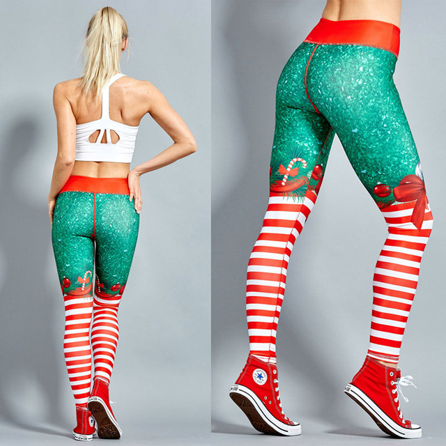 Polyester Red Christmas Striped Print Legging 1