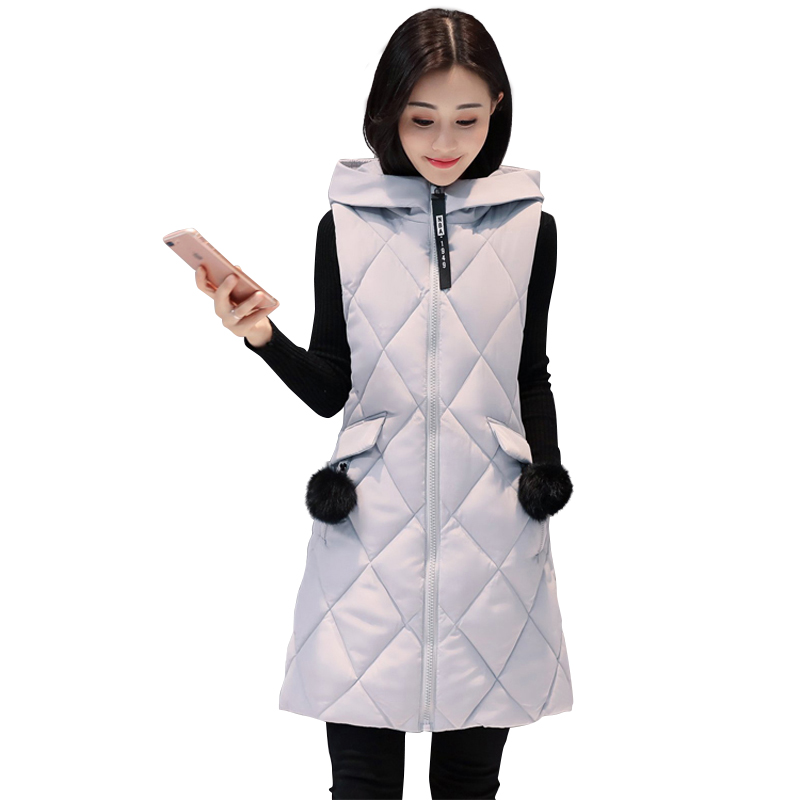 Autumn Winter Vest Women Waistcoat Nice New Fashion Female Sleeveless Jacket Hooded Warm Long Vest Colete Feminino Plus Size 2XL