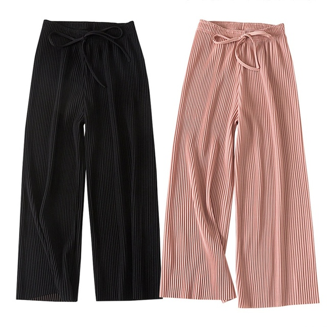 2018 New PANT WOMEN GIRL Solid Color Pleated Wide Leg Female Summer High Waist Chiffon Long Students Korean Fashion Casual Pants