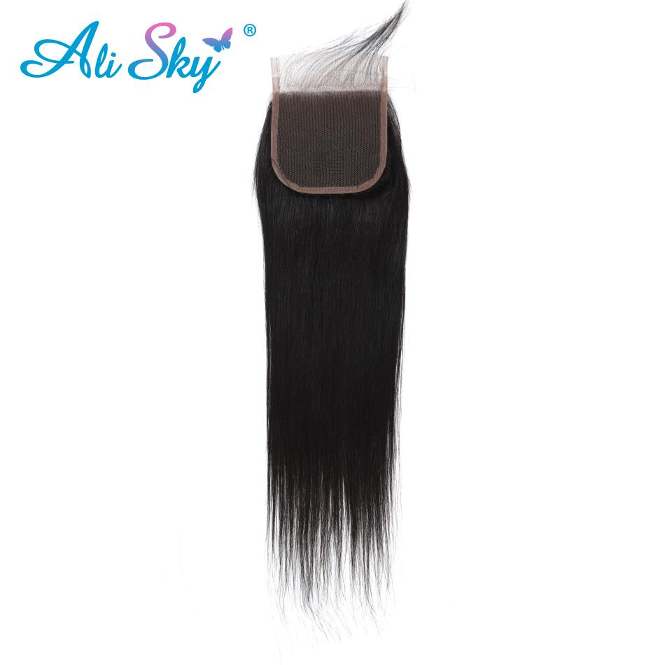 Hair Extensions & Wigs ali Sky 4*4 Middle/free/three Part Straight Brazilian Lace Closure Pre Plucked With Baby Hair 1b 8-22bleached Knots Non Remy