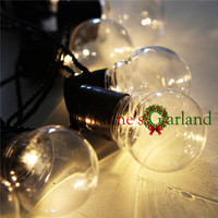 Nolvety 20 LED Clear Globe Connectable Plug As Festoon Party String Christmas Lights Holiday Garland Lights