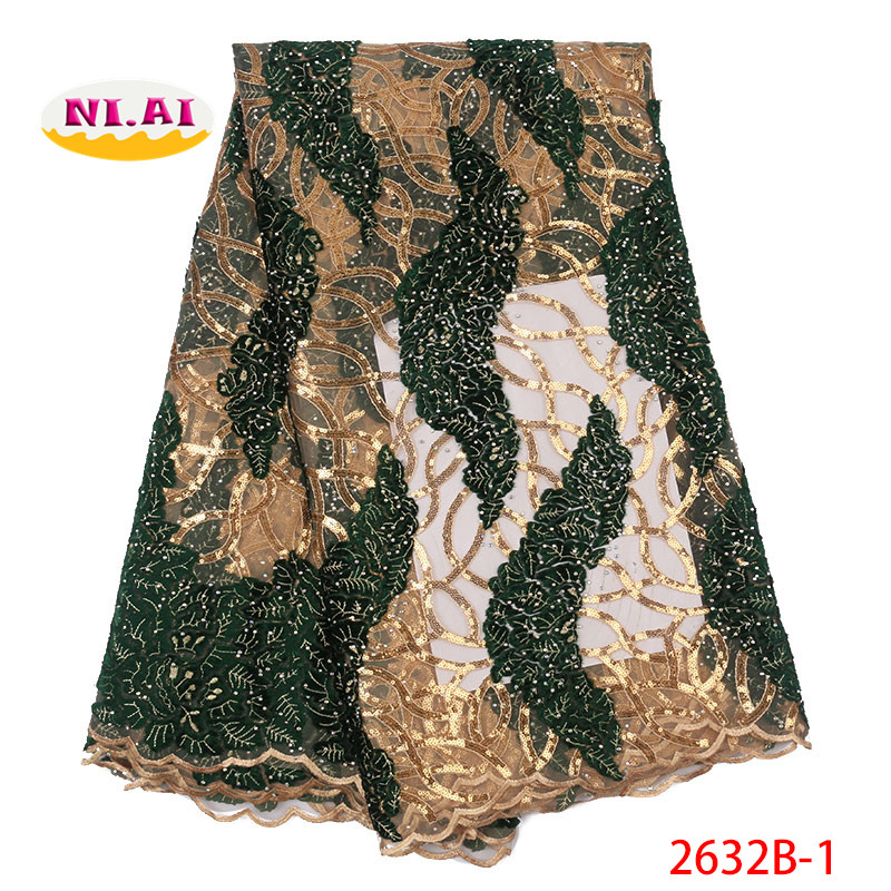 Embroidered Sequin Lace Tulle Fabric Green Gold Embroidered Lace New dresses Lace Fabric MR2632B
