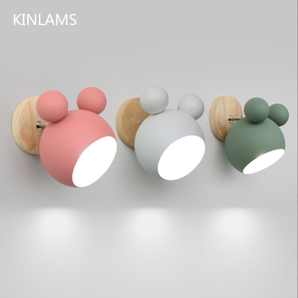 Nordic wooden wall lamps cute coloful wall sconces kitchen restaurant macaroon Decorative Bedside lamp E27