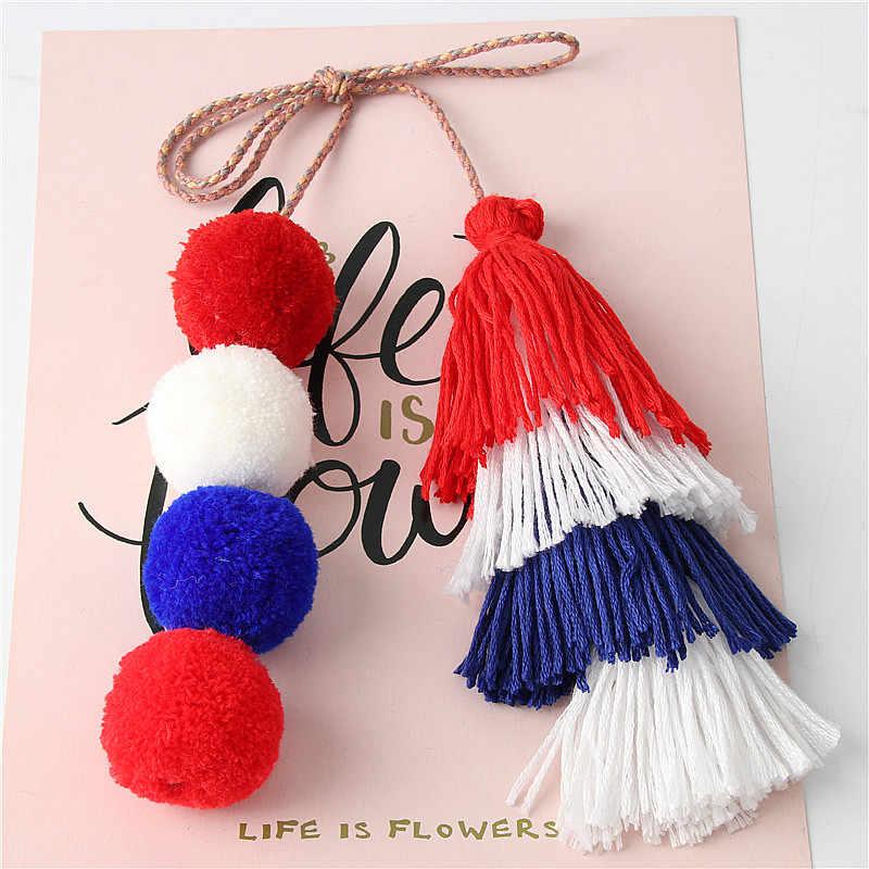 1 Pc Handmade Pom Pom Đầy Màu Sắc 4 Lớp Tua Keychain Túi quyến rũ Gradient Màu Sắc Móc Chìa Khóa Boho Đồ Trang Sức Quà Tặng cho phụ nữ
