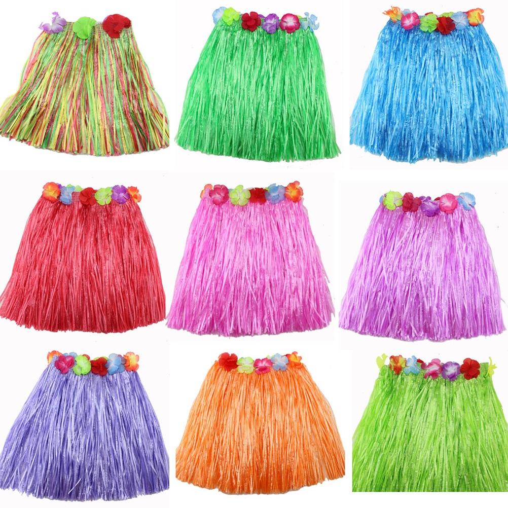 9 Colors Plastic Fibers Kid Grass Skirts Hula Skirt Hawaiian costumes 40CM Girl Dress Up