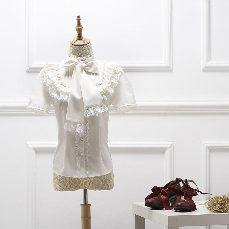 Halloween blanc à manches courtes gothique Lolita Blouses Costumes arc doux Slim Fit dentelle chemises vêtements