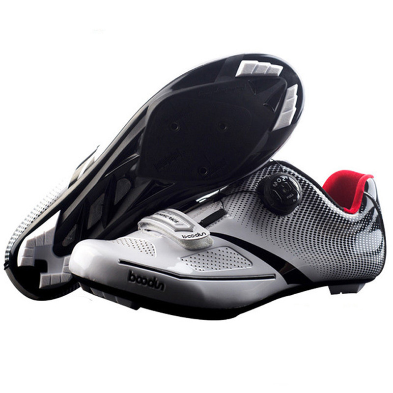 Boodun Pro Self-Locking Cycling Shoes Men Breathable Road Bike Bicycle Shoes Ultralight Athletic Winter Spring Racing Sneakers sidebike high quality men cycling shoes self locking road bike shoes s2 snap knob bicycle shoes ultralight sapatos de ciclismo