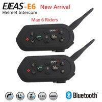 2016 Newest 2Pcs E6 Bluetooth 3 0 Helmet Intercom Headset 6 Riders 1300M BT Interphone Motorcycle