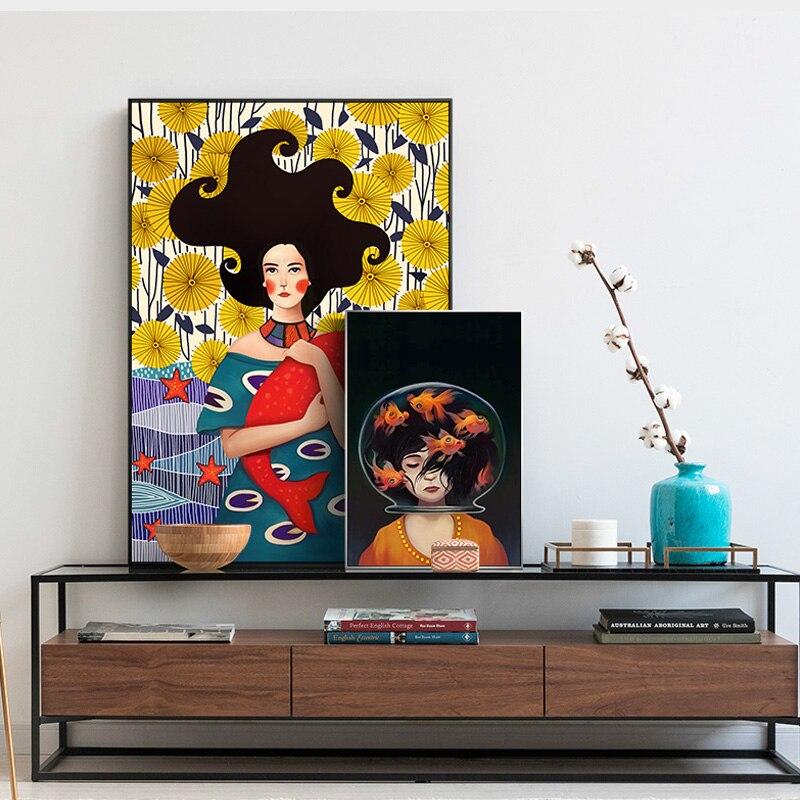 Скандинавском стиле девушка и рыба Куадрос стены искусства картина Романтический Печать на холсте урожая мультфильм для девочек спальня ж...