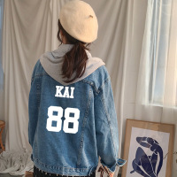 KPOP EXO coat 2018 new men women denim jacket autumn winter Hooded College wind Single breasted Loose Cardigan Loose Lovers