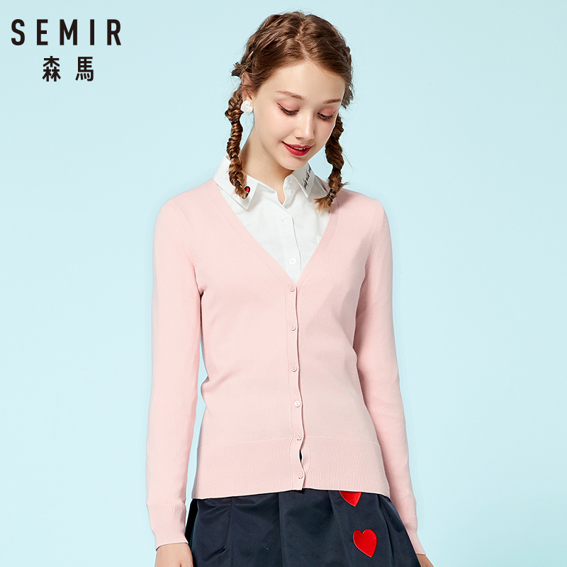 SEMIR Knitted Cardigan sweater 2018 Autumn Women Simple Solid Straight Bottom Wearing sweater Fashion Cardigan for Female