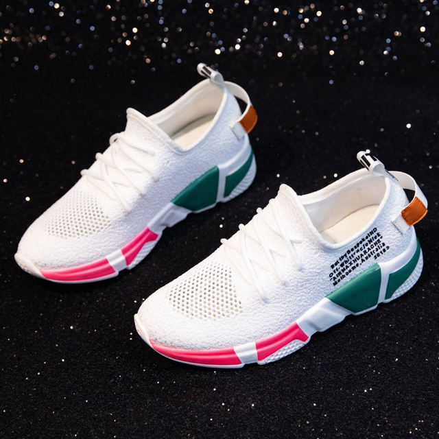 Dumoo Girl Sneakers Shoes Women White/Black Breathable Sneakers Casual Shoes Female Mixed Colors Shoes Heel 5cm Zapatillas Mujer 3