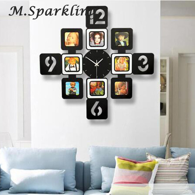 2018 New DIY Wall Clock Modern Design DIY Photo Frame Clock Plastic ...