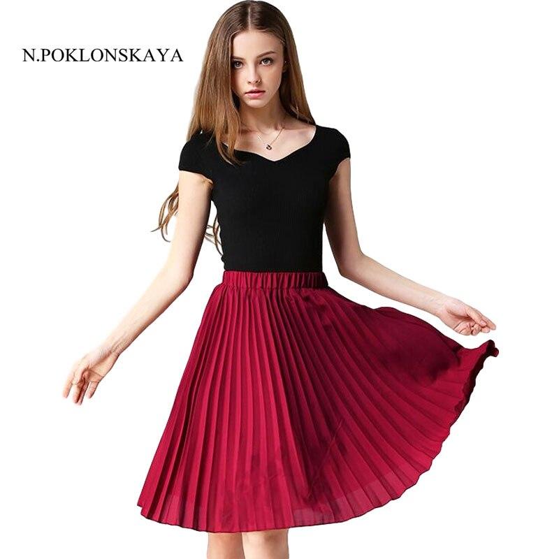 Women Chiffon Skirts Pleated Skirt High Waist Vintage Tutu Skirts Womens Saia Midi Rokken 2017 Summer Style Jupe Femme Skirt H08