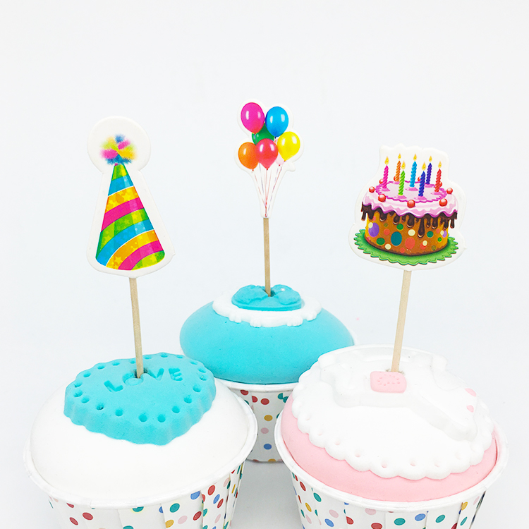 18pcs/lot Birthday Cake And Ballon Design Cupcake Toppers Cartoon Theme Party Supplies Kids Boy Girl Birthday Party Decorations