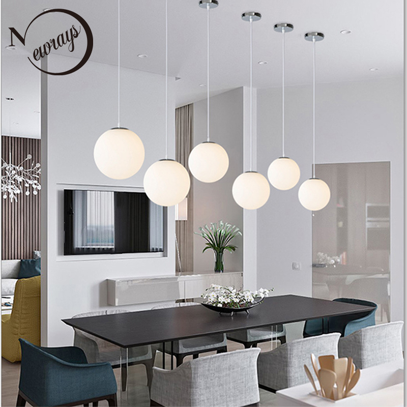 Simple Single-head Glass Ball Milky E27 Led Pendant Lights For Living Room Dining Room Bedroom Aisle Restaurant Clothing Store