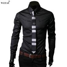 WZZAE 2018 New Arrive Brand New TOP Mens Designer Dark Stripes Dress Shirts Tops