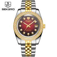 SEKARO Mechanical Watches Men Luxury 2018 Steel Band Gold Diamond Automatic Business Male Clock Man Self