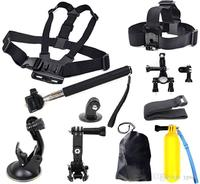 Gopro Hero Accessories Set Helmet Floating Selfie Stick Monopod Chest Belt Head Mount Strap Gopro Hero