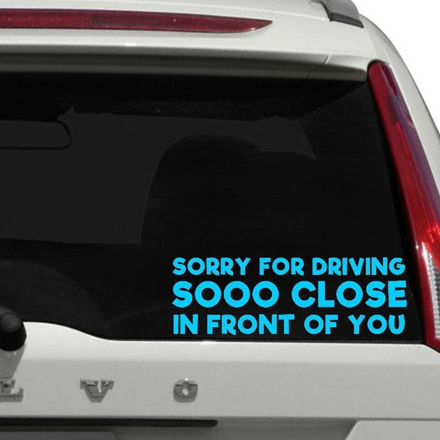 Tailgating warning funny vinyl decal sticker for car rear tail window decor rear bumper back windshield