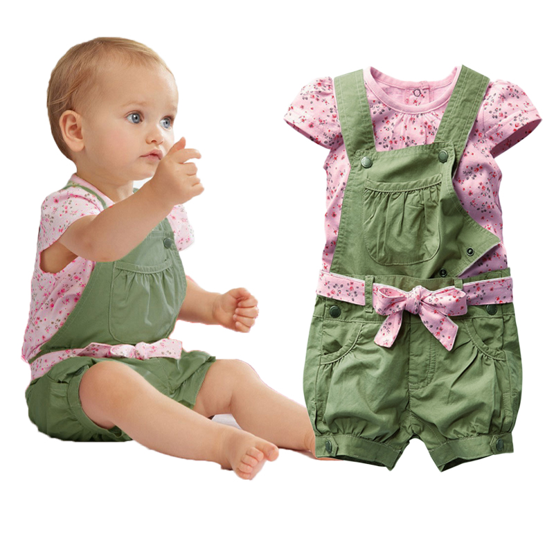 Baby Girl Clothing Sets Floral Short Sleeve T Shirt+Suspender Shorts Toddler Girls Summer Outfits Removeable Overalls 3pcs/set