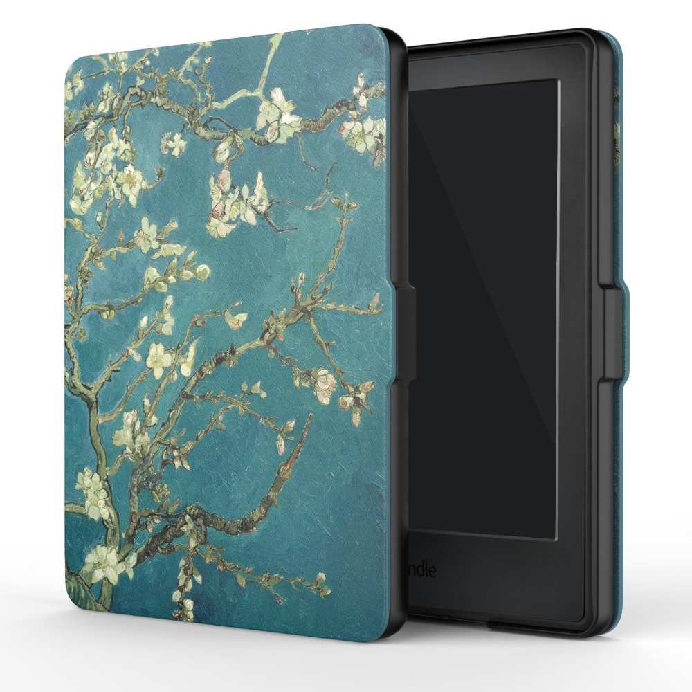 Zimoon Cover For Amazon Kindle 8 th Gen 2016 Model Van Gogh Design Skin Auto Wake Up/Sleep 6 Inch Case With Screen Protector