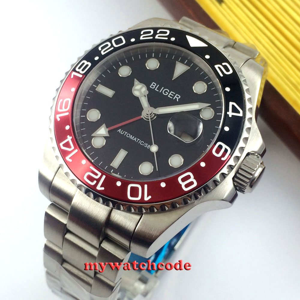 43mm bliger black dial GMT date window sapphire glass automatic mens watch P7 цена и фото