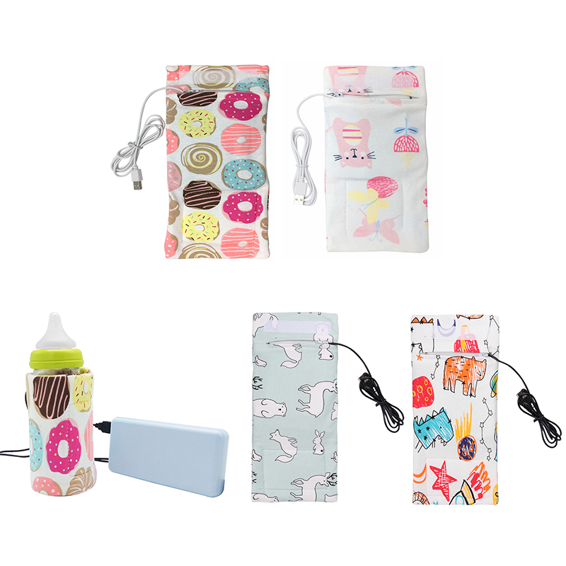 Portable USB Baby Bottle Warmer Outdoor Cup Warmer Heater Infant Drinking Feeding Bottle Bag Storage Heated Cover Insulation Bag