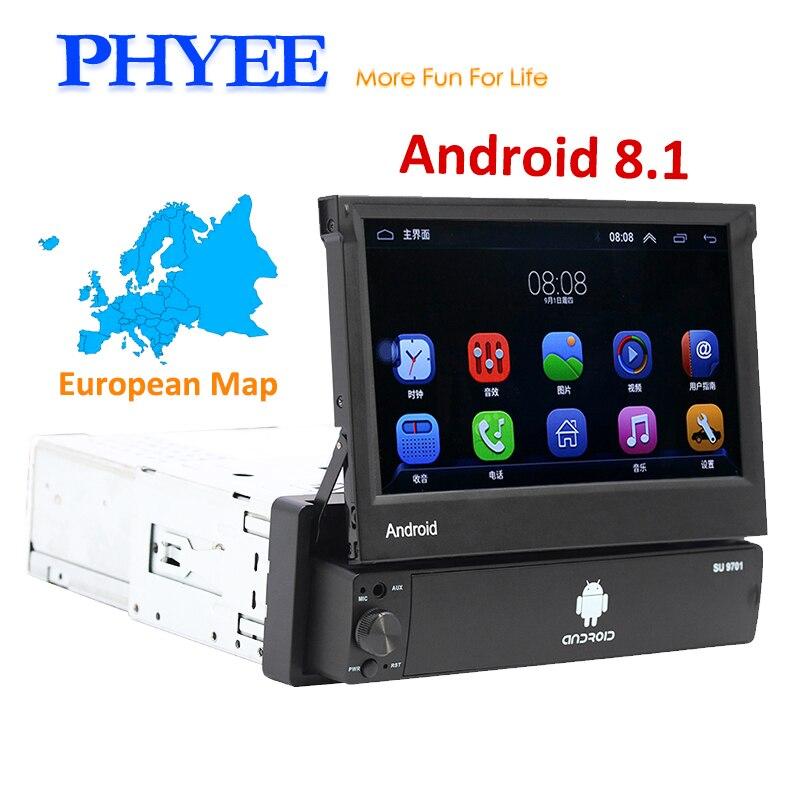 Rétractable 1 Din Radio de voiture Android Autoradio Bluetooth Navigation GPS Wifi USB TF Aux 7 pouces Lecteur multimédia Unité principale 9701