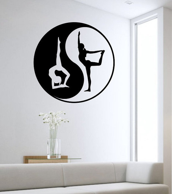 Yin Yang Wall Decal YOGA NAMASTE Vinyl Sticker Wall Art Decor ...