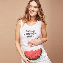Puseky длинный жилет для беременных женщин топы летние с круглым вырезом без рукавов с принтом арбуза Плюс Размер майка для беременных футболка Повседневная