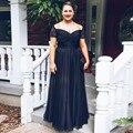 Элегантный 2017 Мать Невесты Платья Line Cap Рукава Шифон Кружева Черный Длинные Вечерние Платья Мать Платья