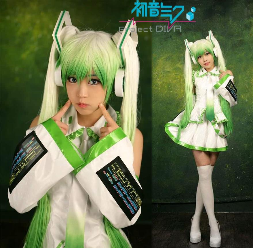 Free Shipping Vocaloid Green Hatsune Miku Singing Uniform Anime Cosplay Costume