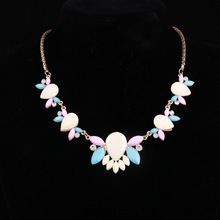 hot deal buy 2016 collier femme collares mujer statement necklaces & pendants imitated gemstone jewelry flower beads necklaces choker colar