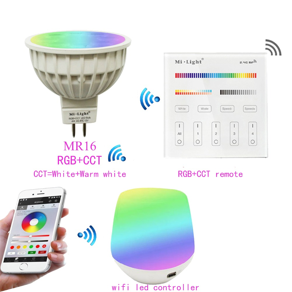 MR16 4W Mi.light RGB+CCT Led Bulb Spotlight AC/DC 12V+2.4G WIFI Ibox Led Controller+B4/T4 RGB+CCT Remote Controller