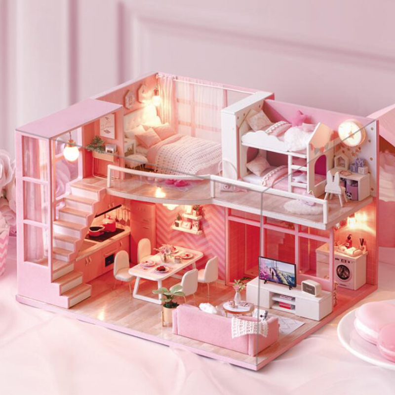 Bricolage maison en bois jouet poppenhuis en bois Miniatura maisons de poupée Miniature maison de poupée jouets avec meubles LED lumières cadeau d'anniversaire