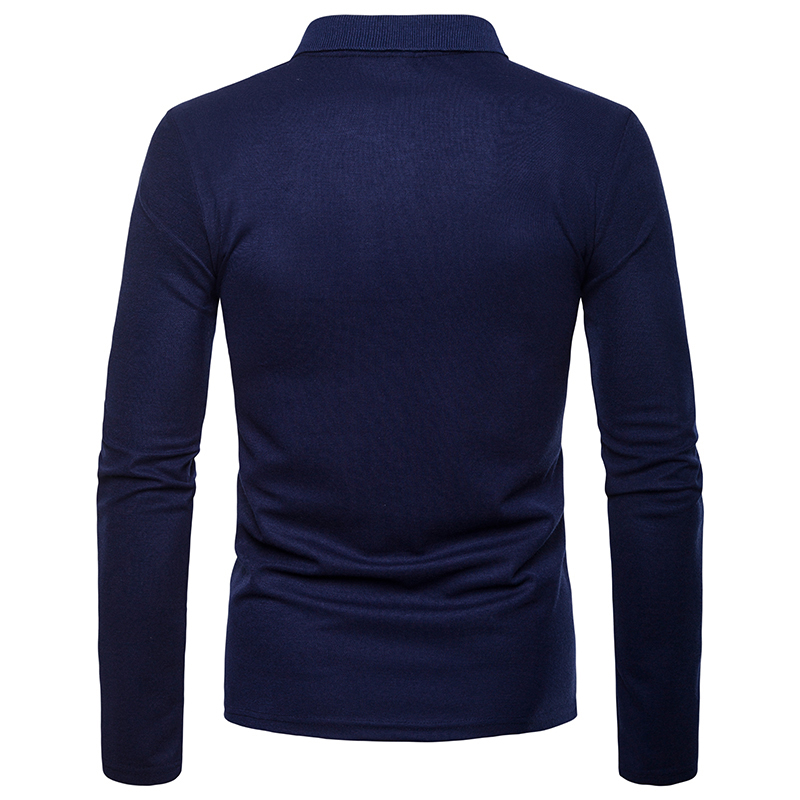 Patchwork Long Sleeve Polo Neck Unisex T-Shirt