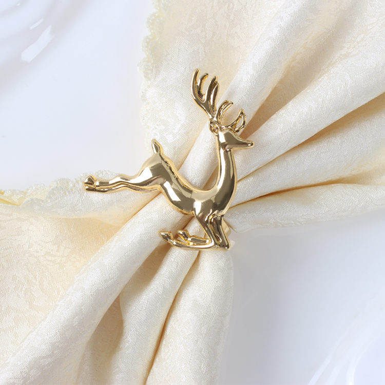 10pcs / lot Fashion utsøkt mote hjort serviett ring serviett spenne hotellrestaurant, juledekke ringer Golden