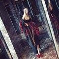 [Twotwinstyle] 2017 outono patchworck borlas bordado longo trench mulheres new fashion clothing