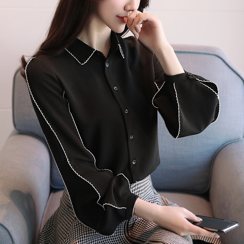 2018 New Spring Women Elegant Black White Blouse Contrast Color Lantern Sleeve Top Korean Chic Female Work Ladies Shirt Tops