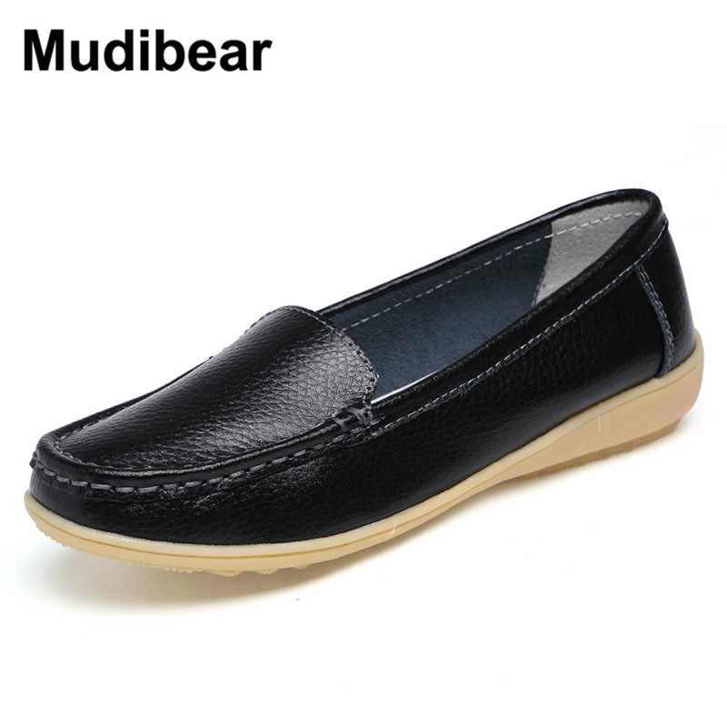 Mudibear Women's Genuine Leather Shoes Lady FlatS  Leather Slip on Casual Loafers shoes Orange White Black size 35-41 Flats With flats man loafers shoes pointed toe high quality big size 46 39 black white orange slip on pu leather new arrival 2017 ephemeral