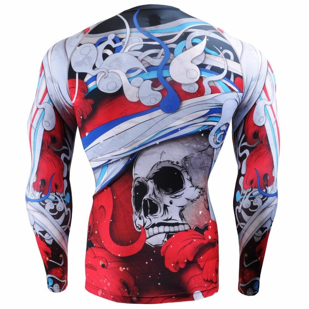 Bodybuilding Mens T Shirt di Fitness Camicia di Compressione Palestra Corsa e Jogging di Sollevamento Pesi MMA Pelle Stretto Flessibile Lungo I Vestiti - 4