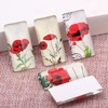 Onwear 20pcs 19x38mm Rectangle Glass Cabochon Mixed Poppy Flower Photo Domed Flatback Jewelry Findings For Pendant