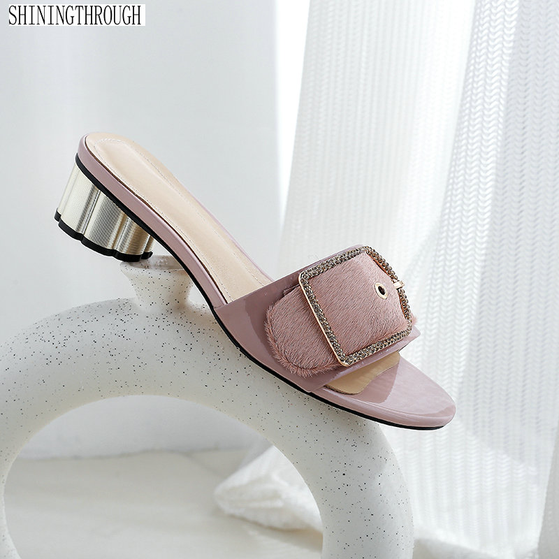 Sexy low heels slippers woman black pink summer shoes sandals woman sexy ladies party shoes large