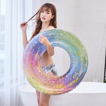 60cm / 70cm 80cm /90cm Glitter Swimming Ring For Boys Girls Rainbow Inflatable Swim Circle Mattress Beach Water Fun