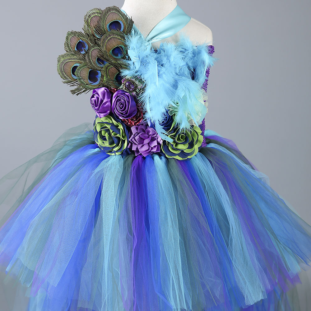 New Baby Girls Trailing Peacock Tutu Dress Tulle Feathers Flowers ...