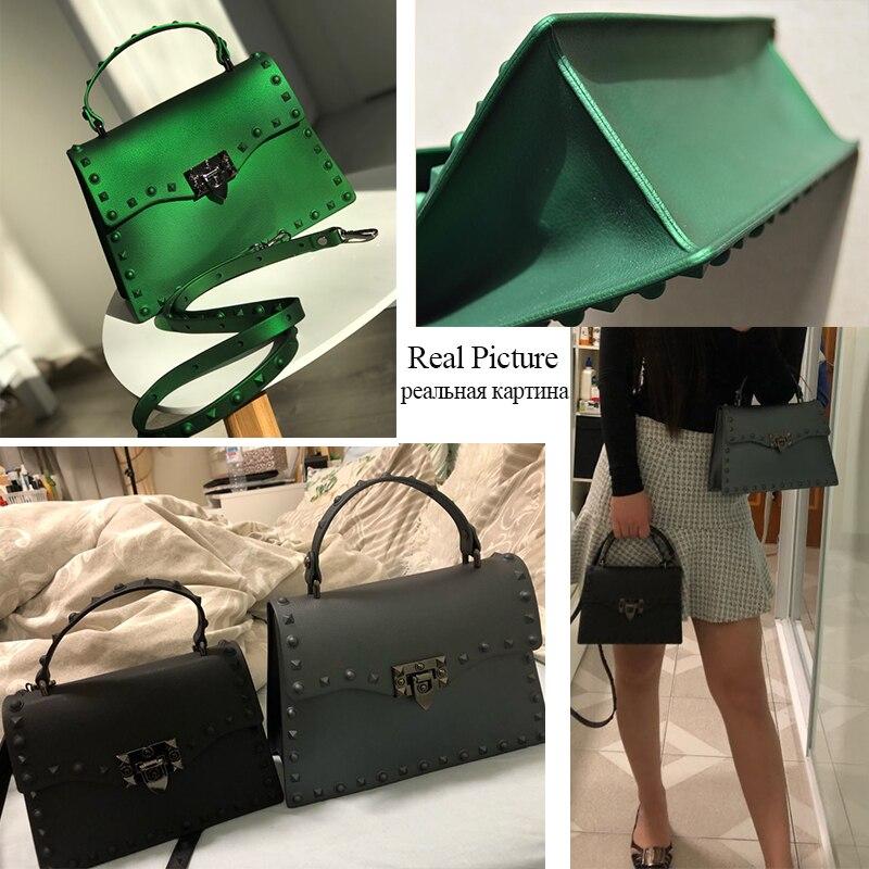 Image 5 - Rivet Women Messenger Bags Luxury Handbags Women Bags Designer PVC Jelly Bag Fashion Shoulder Bag Females PU Leather Handbags-in Top-Handle Bags from Luggage & Bags