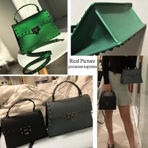 Image 5 - Rivet Women Messenger Bags Luxury Handbags Women Bags Designer PVC Jelly Bag Fashion Shoulder Bag Females PU Leather Handbags